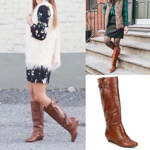 Steve Madden Intyce Leather Wedge Heel Tall Boot